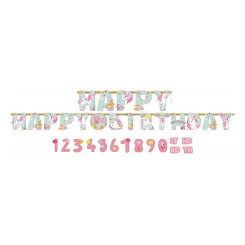 Unikornis Happy Birthday felirat 320cm