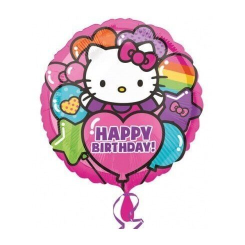 Hello Kitty fólia lufi Happy Birthday 43cm
