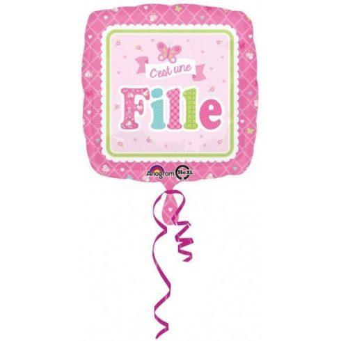 Welcome baby fólia lufi rózsaszín 43cm