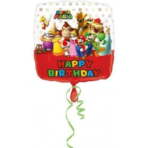 Super Mario fólia lufi Happy Birthday 43cm