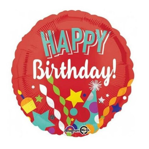 Happy Birthday fólia lufi piros 43cm