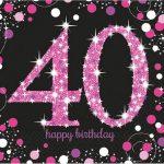 Happy Birthday 40 szalvéta 16 db-os lány