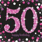Happy Birthday 50 szalvéta 16 db-os lány