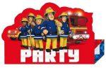 Sam a tűzoltó party meghívó bordó 8 db-os