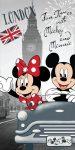 Disney Minnie és Mickey London törölköző, fürdőlepedő 70x140cm